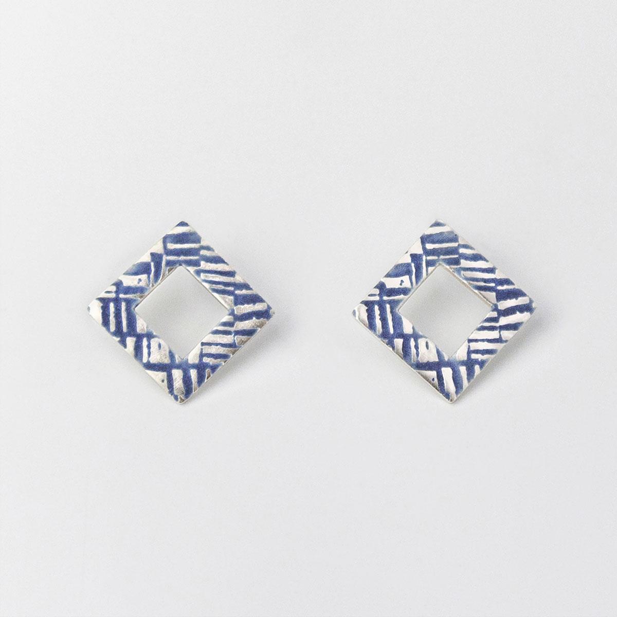 'Weave' Blue-Grey Earrings, Medium